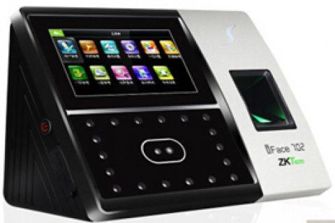 中控  IFace702 人脸识别考勤机 面部打卡机指纹机 刷脸门禁一体机 质感黑+电池(停电可用)